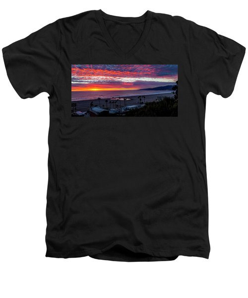 Golden Horizon At Sunset -  Panorama Men's V-Neck T-Shirt