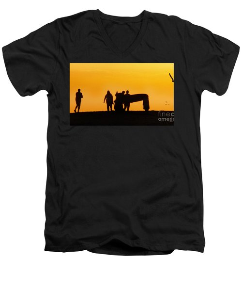 Men's V-Neck T-Shirt featuring the photograph The Golden Hour by Rhonda Strickland