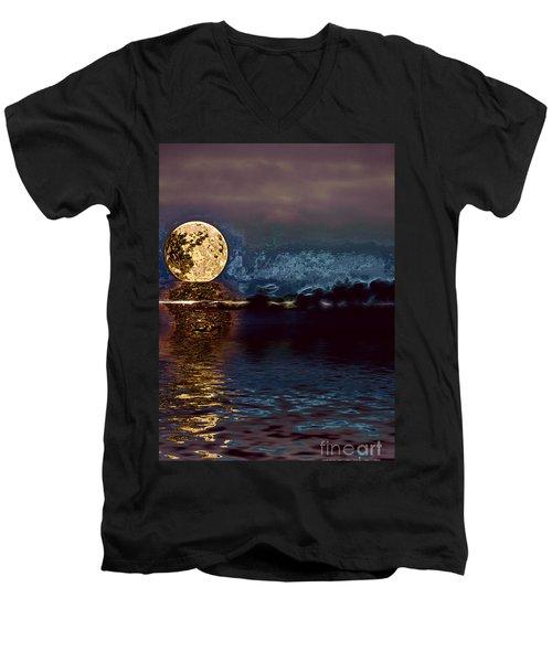 Golden Moon Men's V-Neck T-Shirt by Elaine Hunter