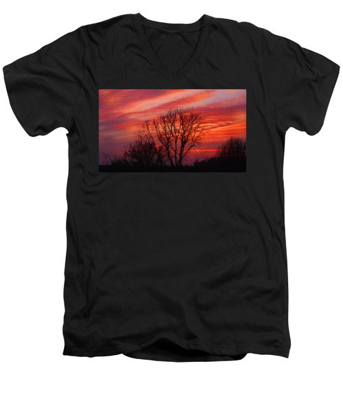 Golden Pink Sunset With Trees Men's V-Neck T-Shirt