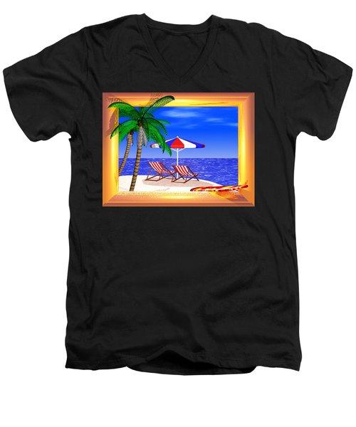 Men's V-Neck T-Shirt featuring the digital art Golden Summer by Andreas Thust