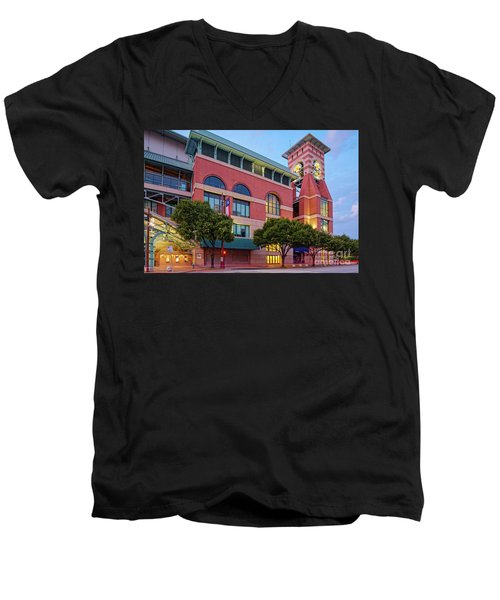 Golden Sunset Glow On The Facade Of Minute Maid Park - Downtown Houston Harris County Texas Men's V-Neck T-Shirt