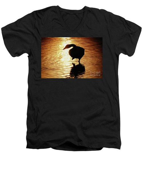 Golden Swan Men's V-Neck T-Shirt by Tatsuya Atarashi