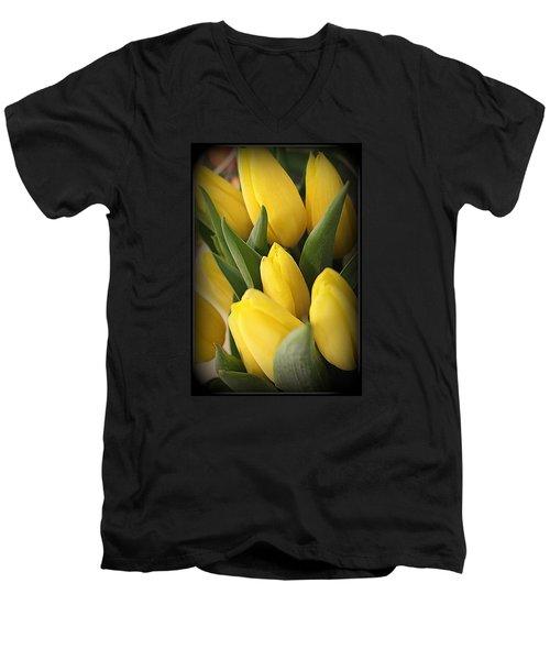 Golden Tulips Men's V-Neck T-Shirt by Dora Sofia Caputo Photographic Art and Design