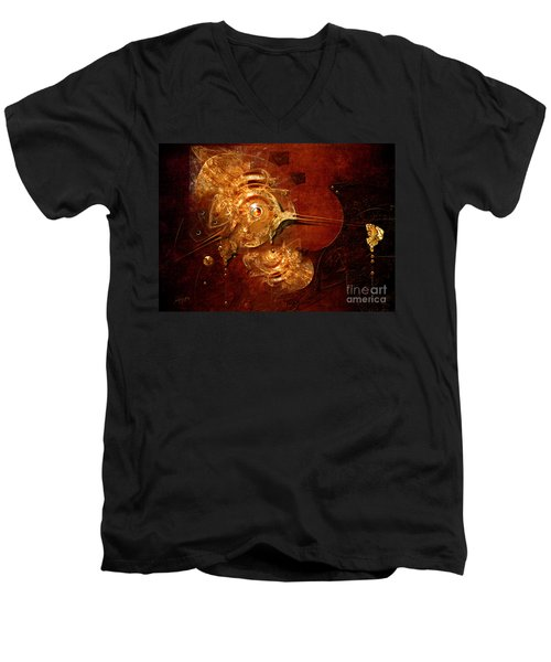Men's V-Neck T-Shirt featuring the digital art Goldsmith by Alexa Szlavics