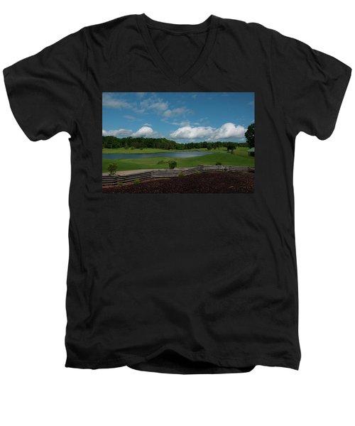 Golf Course The Back 9 Men's V-Neck T-Shirt by Chris Flees