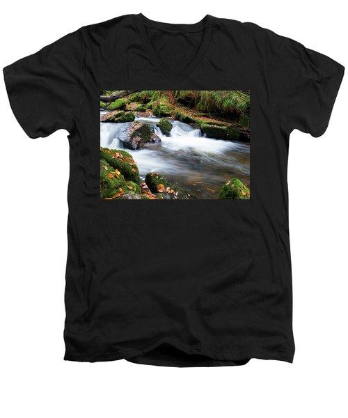 Golitha Falls IIi Men's V-Neck T-Shirt by Helen Northcott
