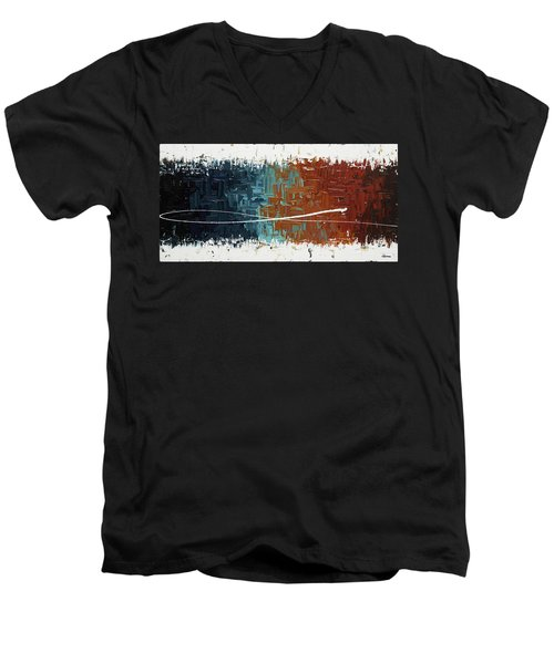 Men's V-Neck T-Shirt featuring the painting Good Feeling - Abstract Art by Carmen Guedez