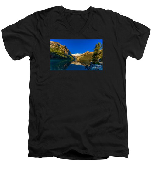 Good Morning Lake Louise Men's V-Neck T-Shirt