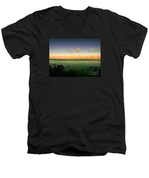 Men's V-Neck T-Shirt featuring the photograph Good Morning Lake Winnisquam by Mim White