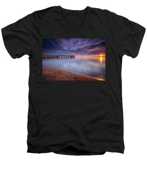 Men's V-Neck T-Shirt featuring the photograph good morning Mr. Sun   by Edward Kreis