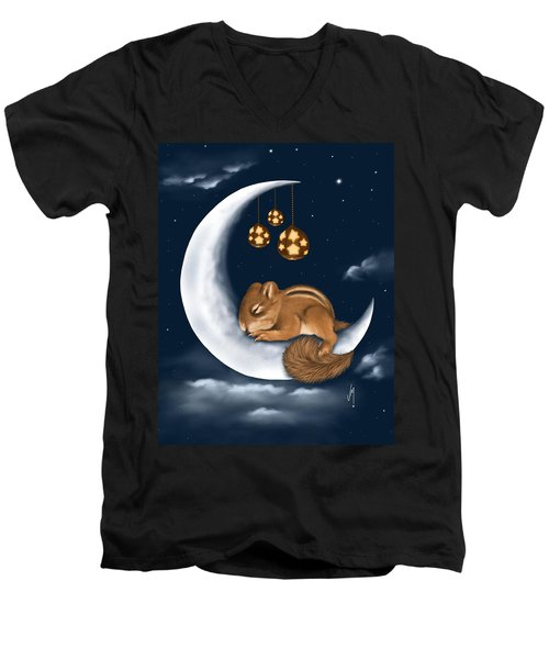 Men's V-Neck T-Shirt featuring the painting Good Night by Veronica Minozzi