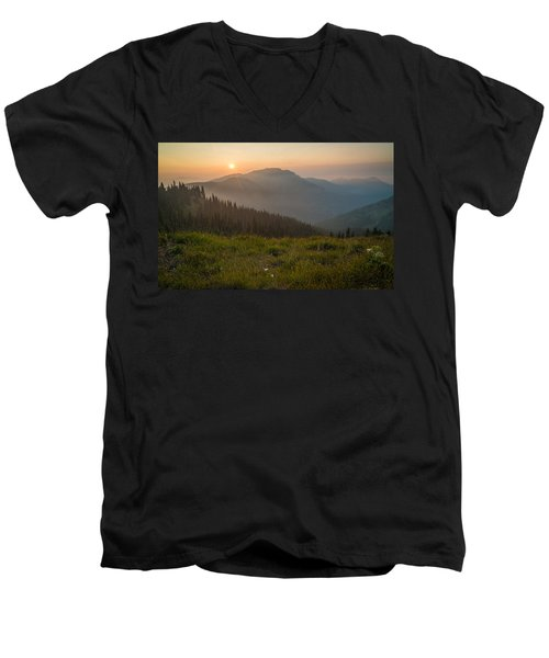 Men's V-Neck T-Shirt featuring the photograph Goodnight Mountains by Kristopher Schoenleber