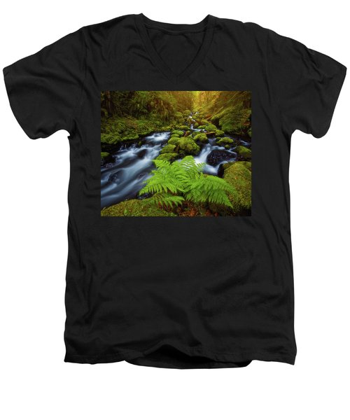 Men's V-Neck T-Shirt featuring the photograph Gorton Creek Fern by Darren White