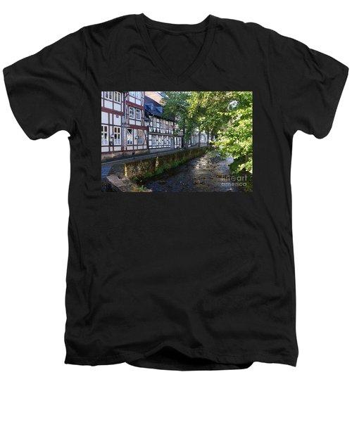 Goslar Old Town 8 Men's V-Neck T-Shirt by Rudi Prott