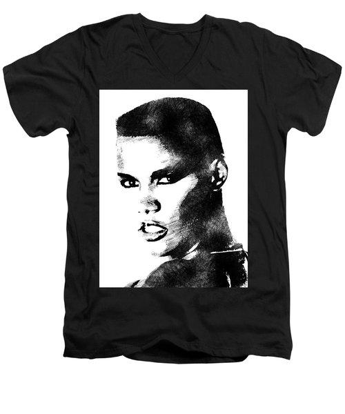 Grace Jones Bw Portrait Men's V-Neck T-Shirt by Mihaela Pater