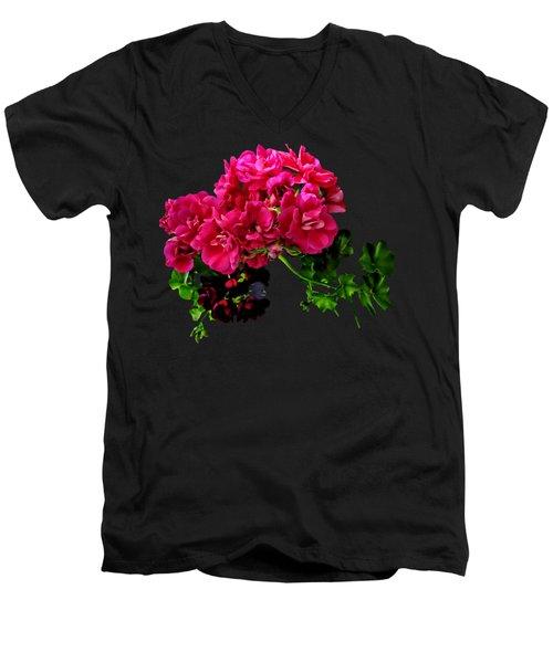 Graceful Geraniums Men's V-Neck T-Shirt by Susan Savad