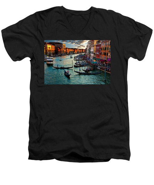 Grand Canal Sunset Men's V-Neck T-Shirt
