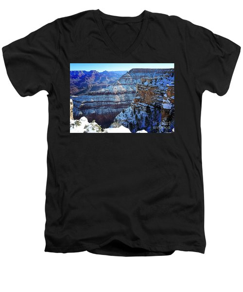 Grand Canyon National Park In Winter Men's V-Neck T-Shirt