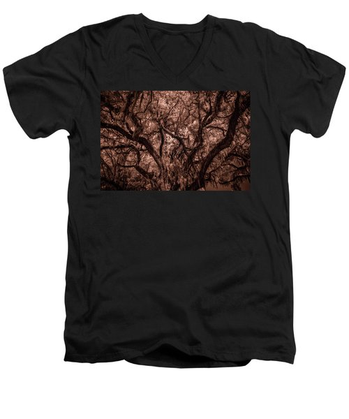 Men's V-Neck T-Shirt featuring the photograph Grand Daddy Oak Tree In Infrared by Louis Ferreira