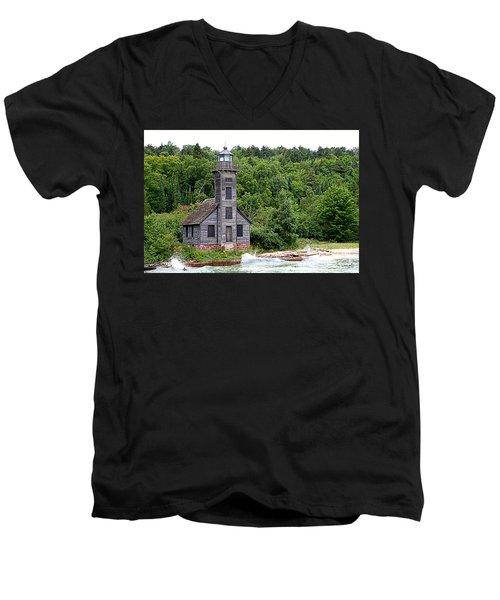 Grand Island East Channel Lighthouse #6680 Men's V-Neck T-Shirt by Mark J Seefeldt
