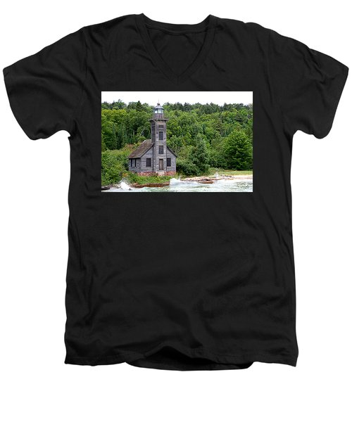 Grand Island East Channel Lighthouse #6680 Men's V-Neck T-Shirt