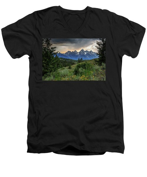 Men's V-Neck T-Shirt featuring the photograph Grand Stormy Sunset by David Chandler
