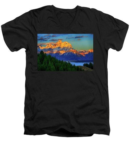 Grand Teton Alpenglow Men's V-Neck T-Shirt