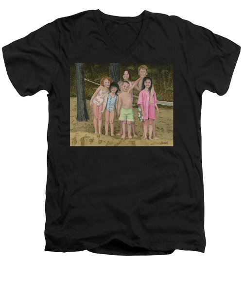 Men's V-Neck T-Shirt featuring the painting Grandkids On The Beach by Ferrel Cordle