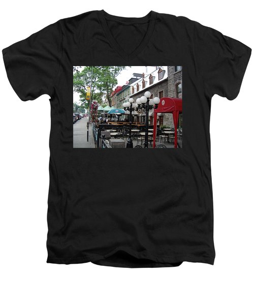 Men's V-Neck T-Shirt featuring the photograph Grande Allee Est by John Schneider