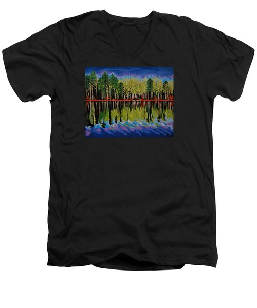 Men's V-Neck T-Shirt featuring the painting Grant's Lake Reflections by Kathleen Sartoris