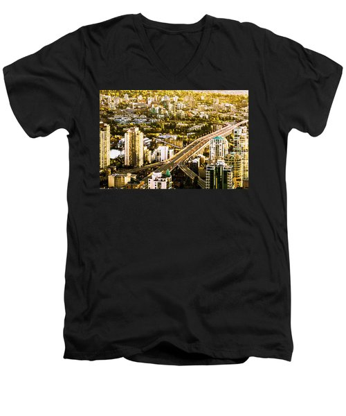 Granville Street Bridge Vancouver British Columbia Men's V-Neck T-Shirt