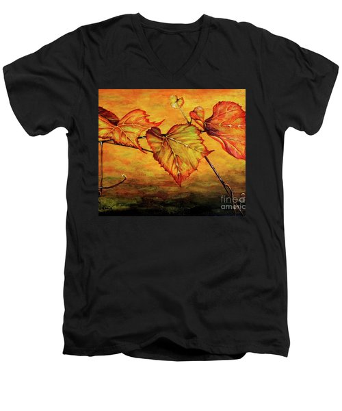 Men's V-Neck T-Shirt featuring the painting Grape Vine by Judy Kirouac