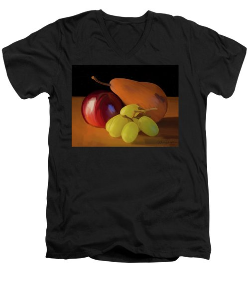 Grapes Plum And Pear 01 Men's V-Neck T-Shirt by Wally Hampton