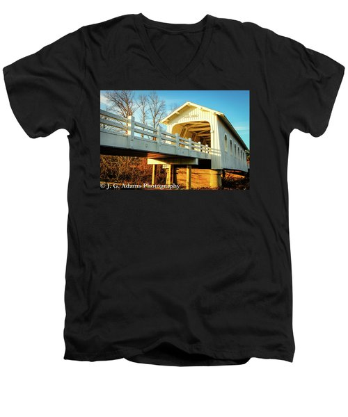 Grave Creek Covered Bridge Men's V-Neck T-Shirt