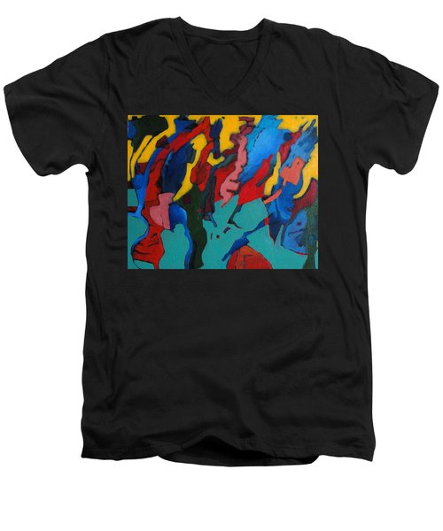 Men's V-Neck T-Shirt featuring the painting Gravity Prevails by Bernard Goodman