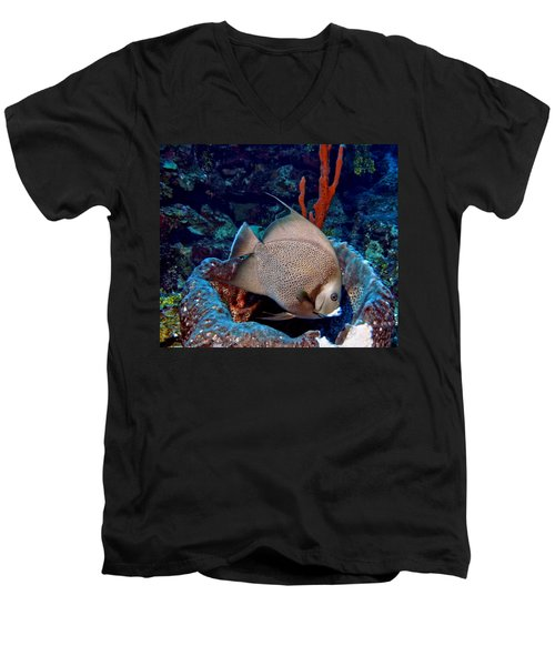 Gray Angel Fish And Sponge Men's V-Neck T-Shirt