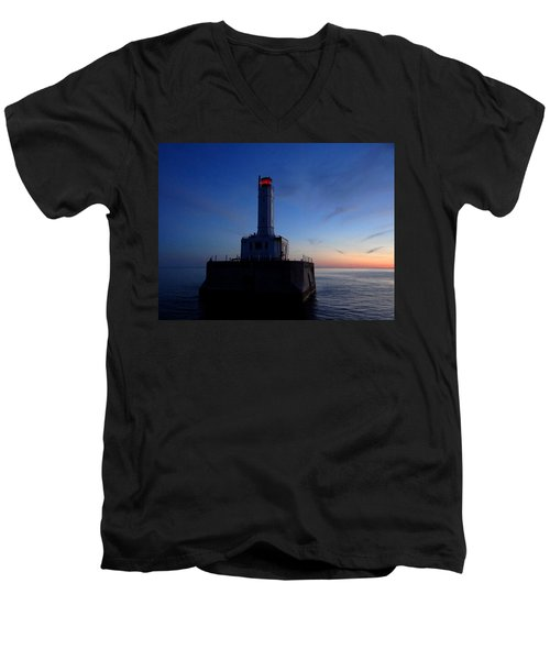 Grays Reef Lighthouse At Dusk Men's V-Neck T-Shirt by Keith Stokes