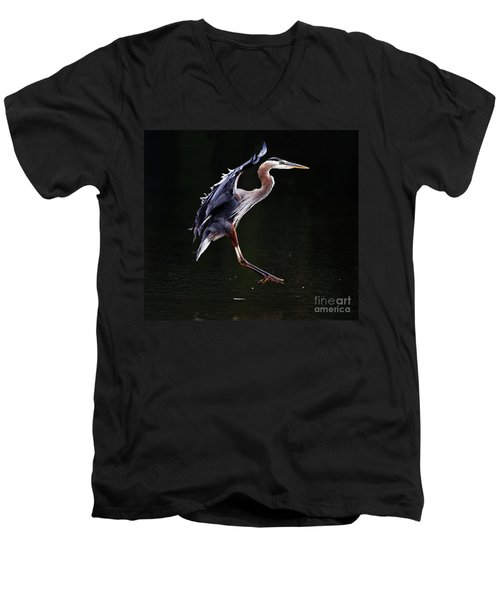 Great Blue Heron On The Wing Men's V-Neck T-Shirt