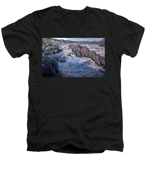 Men's V-Neck T-Shirt featuring the photograph Great Falls Virginia by Suzanne Stout