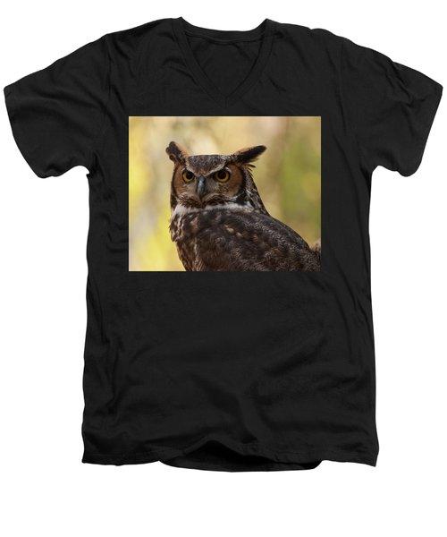 Great Horned Owl In A Tree 1 Men's V-Neck T-Shirt by Chris Flees
