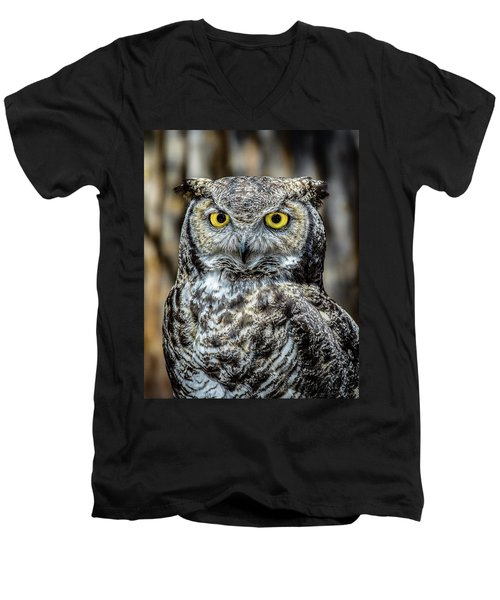 Men's V-Neck T-Shirt featuring the photograph Whooo Me ? by Phil Abrams