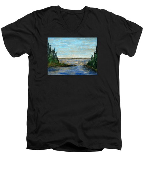 Great Lake Beyond Men's V-Neck T-Shirt by R Kyllo