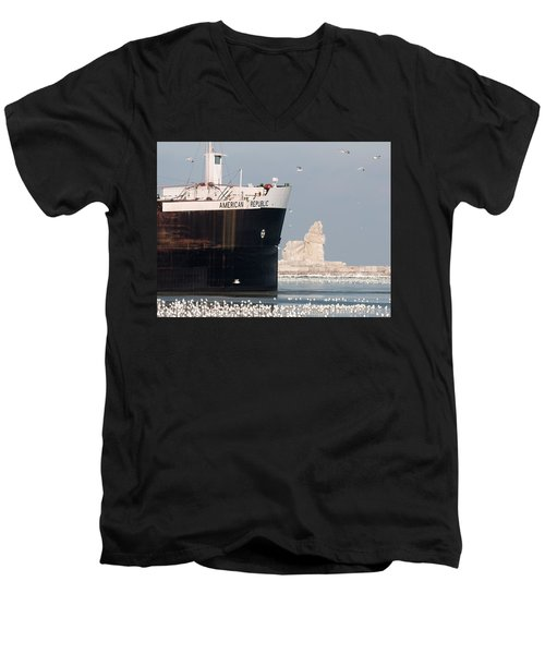 Great Lakes Ship Passing A Frozen Cleveland Lighthouse Men's V-Neck T-Shirt