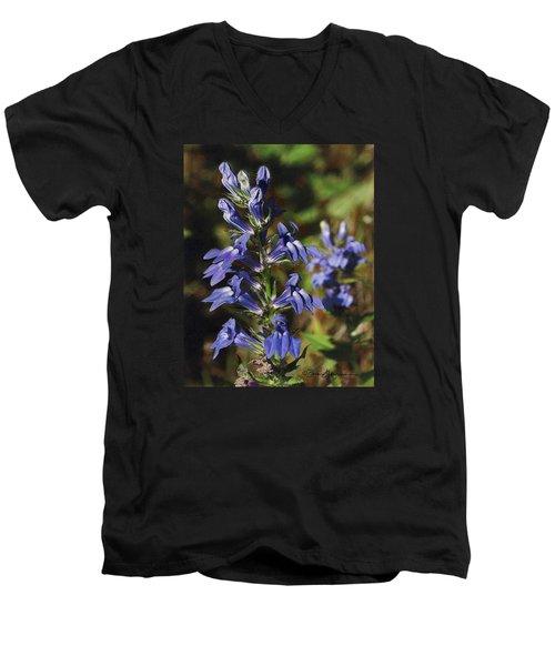 Great Lobelia Blues Men's V-Neck T-Shirt by Bruce Morrison