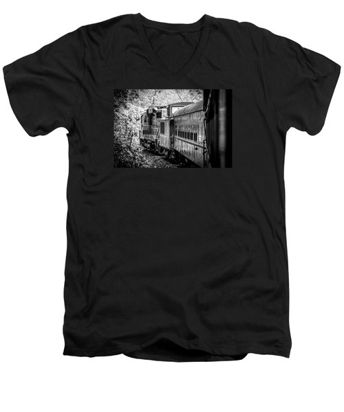 Great Smokey Mountain Railroad Looking Out At The Train In Black And White Men's V-Neck T-Shirt by Kelly Hazel