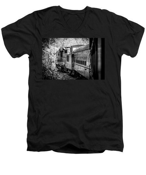 Great Smokey Mountain Railroad Looking Out At The Train In Black And White Men's V-Neck T-Shirt