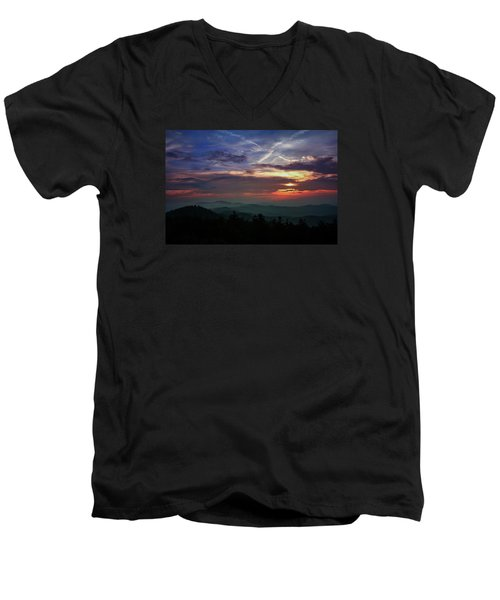 Men's V-Neck T-Shirt featuring the photograph Great Smoky Sunsets by Jessica Brawley