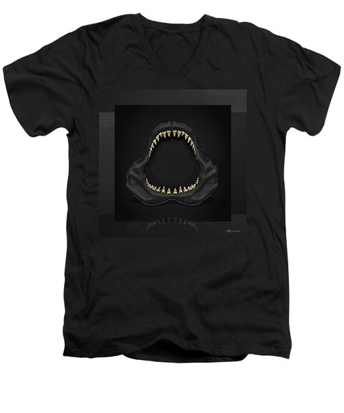 Great White Shark Jaws With Gold Teeth  Men's V-Neck T-Shirt by Serge Averbukh