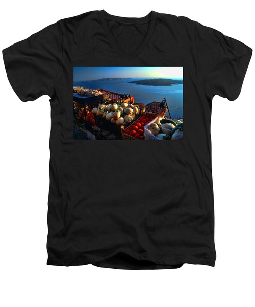 Greek Food At Santorini Men's V-Neck T-Shirt by David Smith